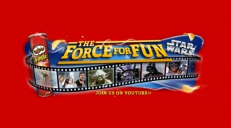 "Visit Youtube.com/Pringles to watch the videos from the Pringles and Star Wars ""The Force For Fun"" promotion"