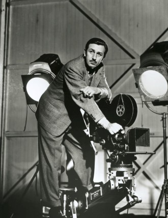 A young Walt Disney on set.