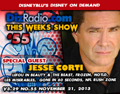 DisneyBlu's Disney on Demand Podcast Show #55 w/ Special Guest JESSE CORTI (Beauty and the Beast, Frozen, Night of the Living Dead Origins, NFL Rush Zone, Les Miserables, Gone in 60 Seconds) on DizRadio.com
