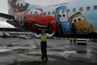 Alaska Dean Potter Seattle supervisor with Alaska's fifth Disney-themed plane.