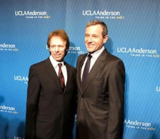 Film and TV producer Jerry Bruckheimer with The Walt Disney Company Chairman and CEO Robert A. Iger at the 2013 John Wooden Global Leadership Award dinner.