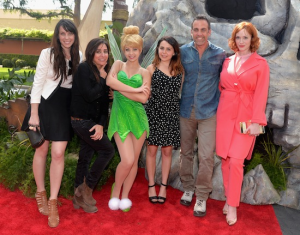 "World Premiere of ""The Pirate Fairy"" with film talent (L to R) Angela Bartys, Pamela Adlon, Tinker Bell, Mae Whitman, Carlos Ponce and Christina Hendricks."