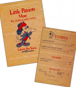 A Trip Back to the Liberty Tree Tavern, 1983 and The Little Patriots Menu at the Magic Kingdom