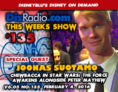 JOONAS SUOTAMO (Chewbacca in Star Wars: The Force Awakens Alongside Peter Mayhew) on DizRadio.com