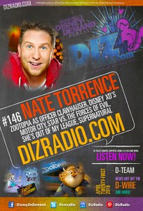NATE TORRENCE (Officer Clawhauser in Disney's Zootopia, Star Vs The Forces of Evil, Motor City, Supernatural, Get Smart, She's Out Of My League) on DizRadio.com