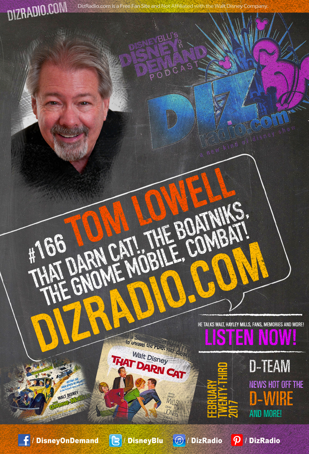 Disneyblu S Disney On Demand Podcast Show 166 W Special Guest Tom Lowell That Darn Cat The Gnome Mobile The Boatniks Combat On Dizradio Com Dizradio Com A Disney Themed Celebrity Guest Podcast