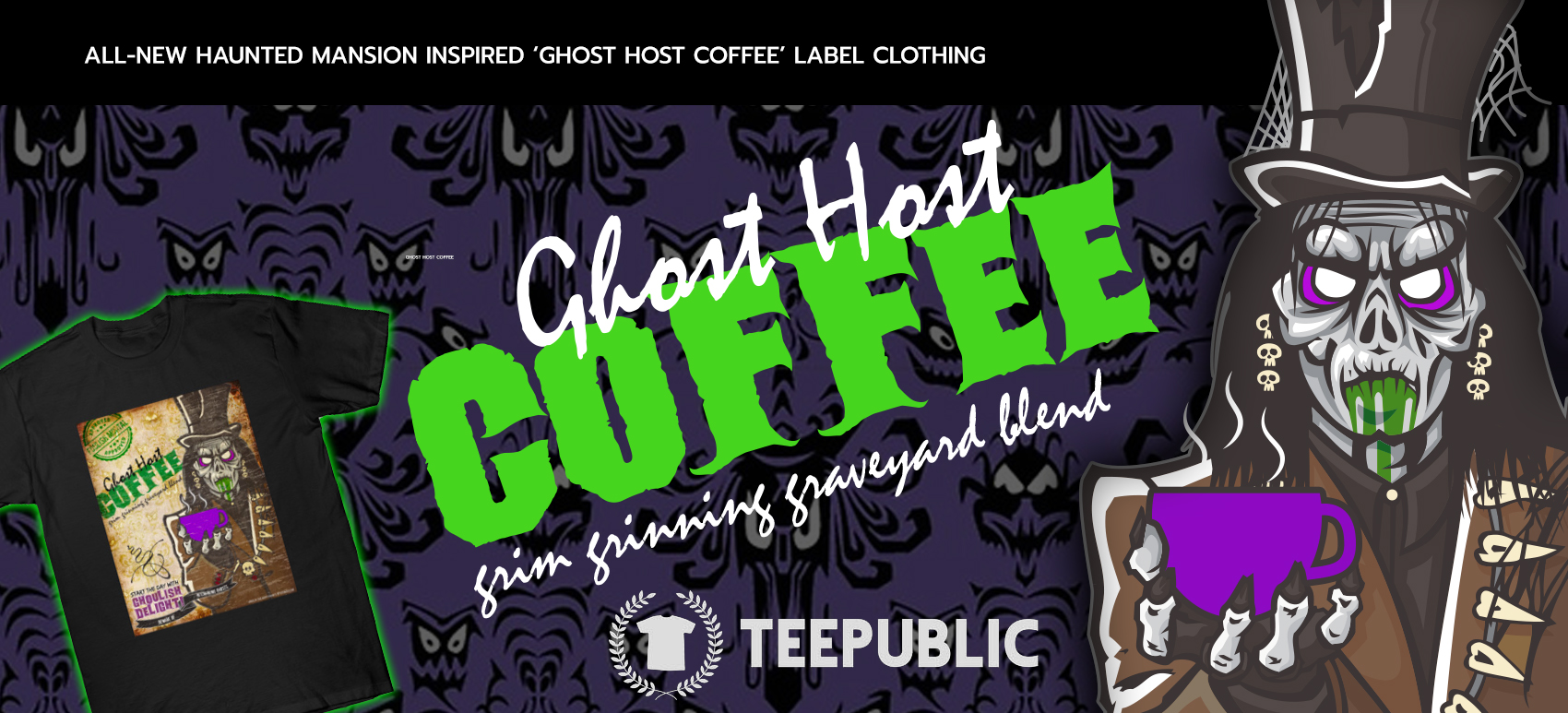 Haunted Mansion Inspired Grim Grinning 'Ghost Host Coffee' Label Clothing Released