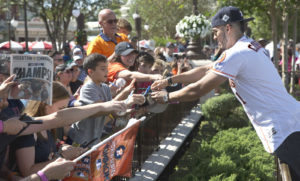 Houston Astros All-Star player Carlos Correa greets fans at Magic Kingdom Park in Lake Buena Vista, Fla., Saturday, Nov. 4, 2017. Correa later joined World Series MVP George Springer and American League batting champion Jose Altuve to lead off a Walt Disney World Parade saluting the team's first world title in its 56-year history. (Gregg Newton, photographer)