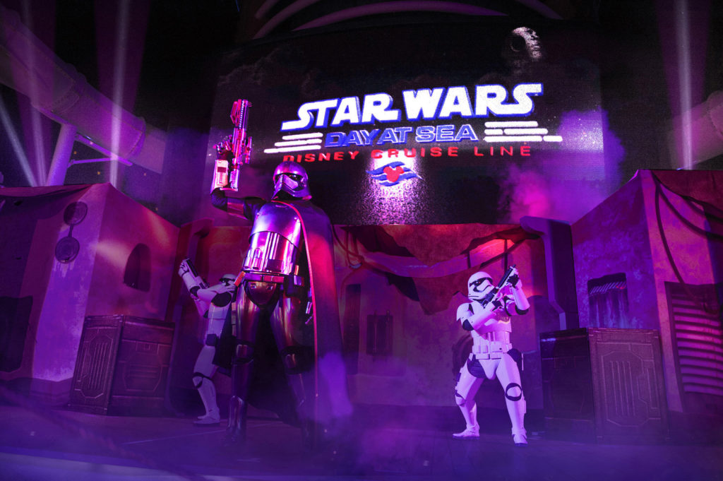 "Star Wars Day at Sea - ""Summon the Force"" The ""Summon the Force"" deck party, part of Star Wars Day at Sea, features pyrotechnics, special effects and stunts including appearances by fan favorite characters like Kylo Ren, Darth Vader and Chewbacca."