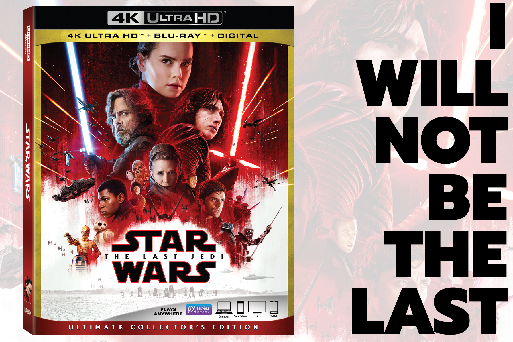 Star Wars: The Last Jedi Debuts on Movies Anywhere March 13, and on Blu-ray March 27!