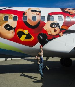 The Incredibles 2-themed plane, Alaska's first Disney•Pixar film livery, is a crowd favorite among the 2,000 students attending Alaska Airlines' Aviation Day.