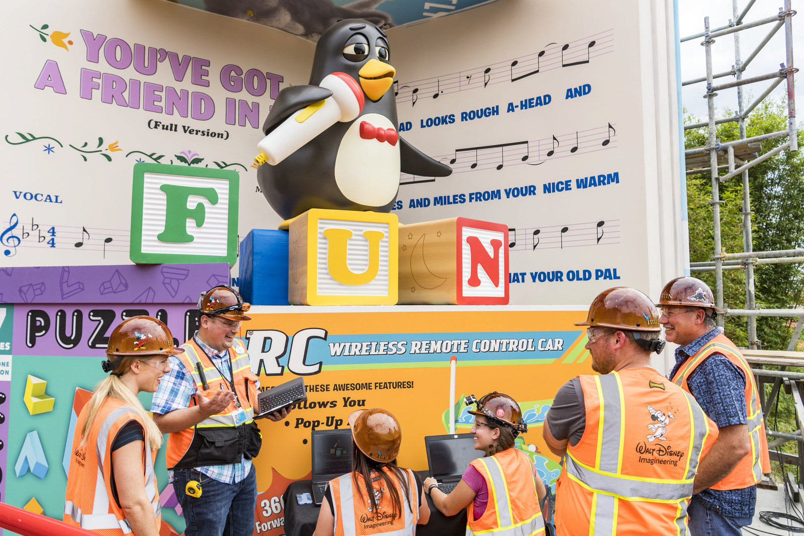 "Wheezy, the squeaky toy penguin from the Disney•Pixar ""Toy Story"" films, will delight guests riding Slinky Dog Dash, the family-friendly coaster that will be part of the new Toy Story Land opening June 30, 2018, at Disney's Hollywood Studios. The all-new Audio-Animatronic figure will serenade guests with ""You've Got a Friend in Me,"" the popular song from the films."