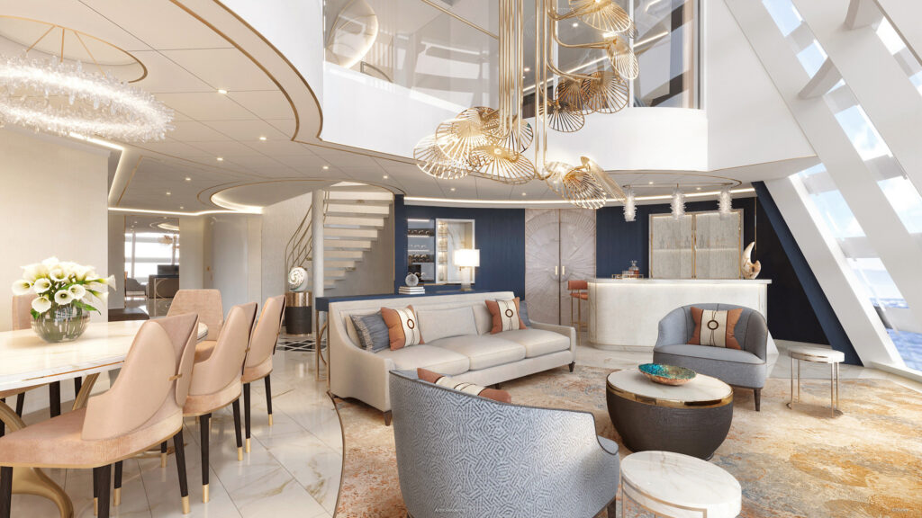 The Wish Tower Suite, a first-of-its-kind accommodation set high in the forward funnel of the Disney Wish