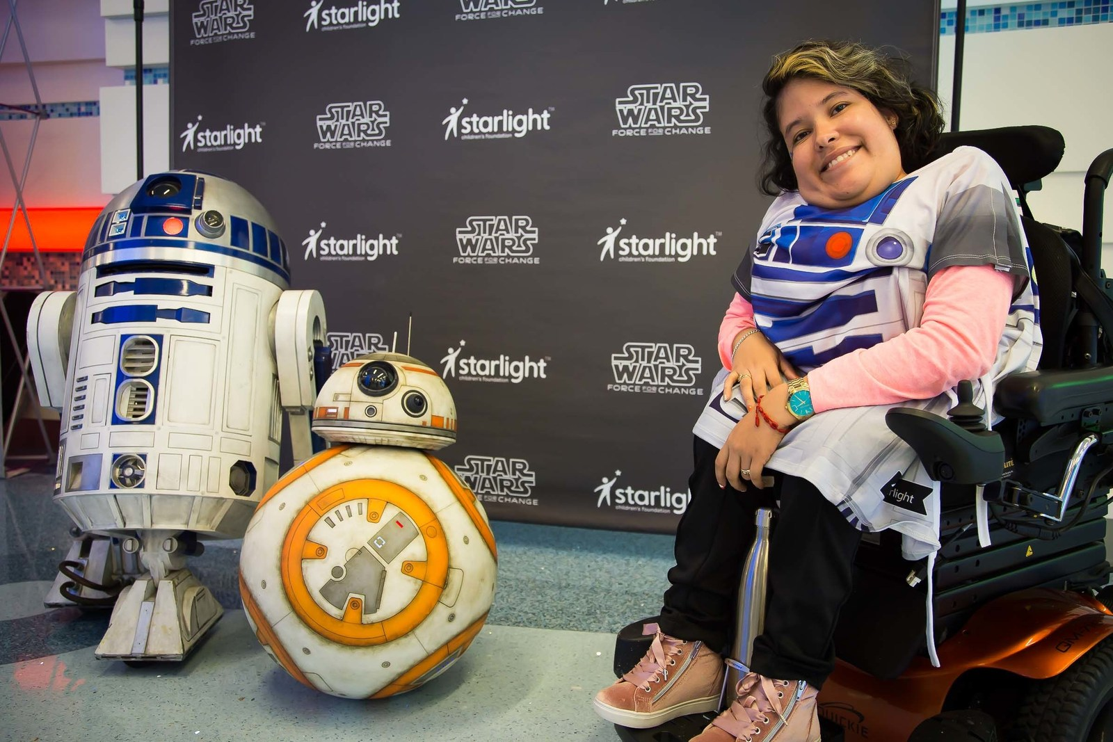 Pediatric patients at CHOC Children's Hospital in Orange County, Calif., enjoy a day of fun activities with their favorite Star Wars characters and the first-ever distribution of new Star Wars-themed Starlight Brave Gowns.